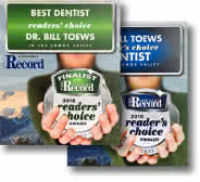 Awards for Dr. Bill Toews, a recognized dentist in Comox BC